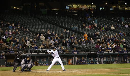 The smallest crowd in Safeco Field history watches as Seattle Mariners' Robert Andino takes a pitch against the Houston Astros in the seventh inning of a baseball game, Tuesday, April 9, 2013, in Seattle. Official attendance was 10, 745. (AP Photo/Ted S. Warren)