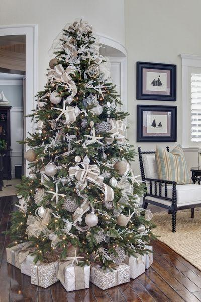 "<p>For a cheerful, coastal Christmas tree, like this one designed by <a href=""http://www.seahorseandstripes.com/"" rel=""nofollow noopener"" target=""_blank"" data-ylk=""slk:Seahorse & Stripes"" class=""link rapid-noclick-resp"">Seahorse & Stripes</a>, swags of ribbon in shades of cream and straw pair with distinctive sea stars and an airy waterfront color scheme.</p>"