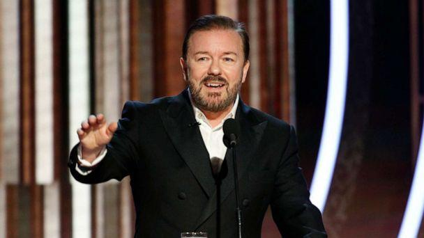 PHOTO: Host Ricky Gervais speaks onstage during the Golden Globe Awards, Jan. 5, 2020 in Beverly Hills, Calif. (NBC via Getty Images)