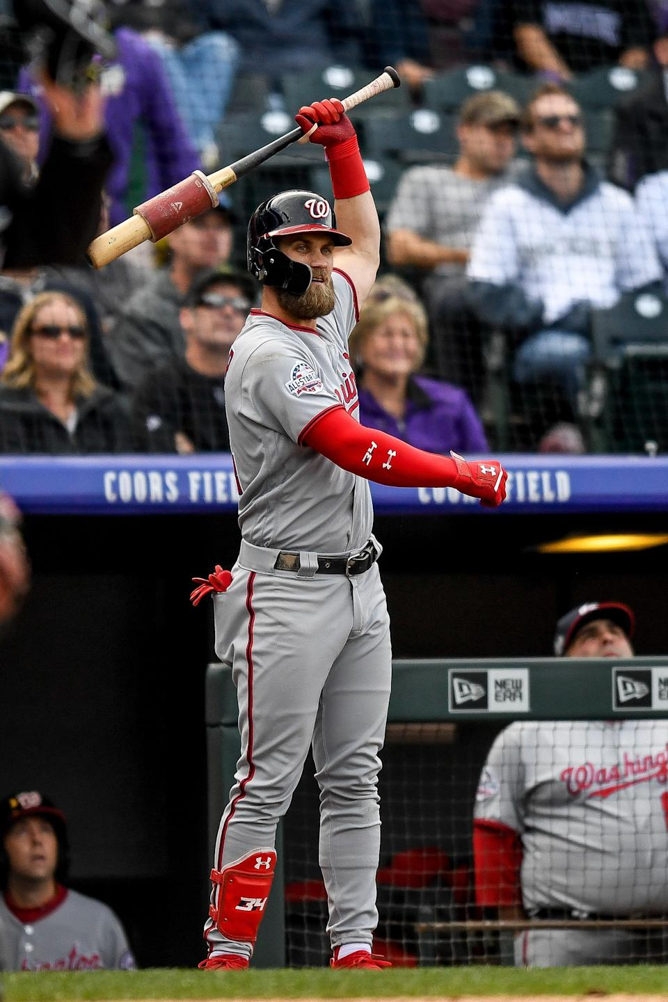 DENVER, CO – SEPTEMBER 30: Bryce Harper #34 of the Washington Nationals warms up in the on deck circle before batting against the Colorado Rockies in the ninth inning of a game at Coors Field on September 30, 2018 in Denver, Colorado. (Photo by Dustin Bradford/Getty Images)