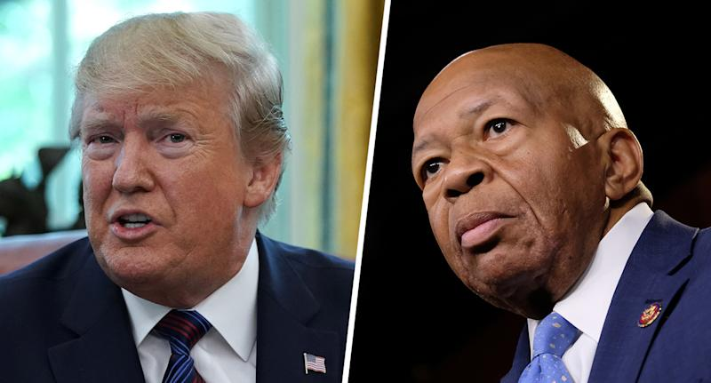 U.S. President Donald Trump (Photo by Alex Wong/Getty Images); Rep. Elijah Cummings, D-Md.(Photo by Alex Wroblewski/Getty Images)