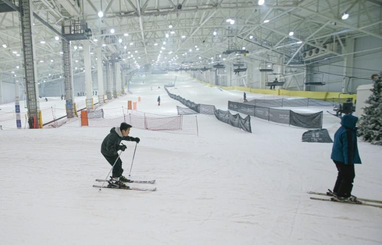 Skiers try the indoor slopes at American Dream, a giant new mall in New Jersey