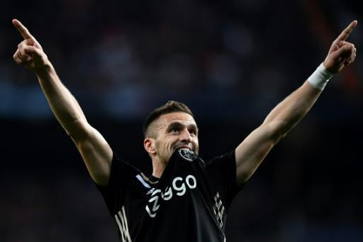 Tadic celebrates after scoring against Real Madrid in the last 16