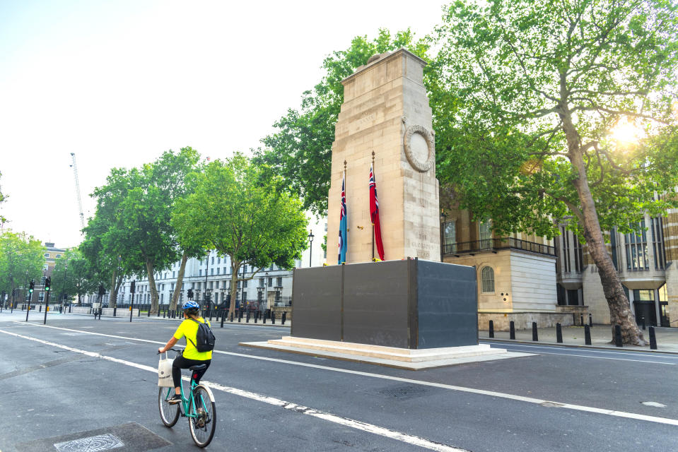 A The Cenotaph was boarded up to protect it during the Black Lives Matter protests (PA)