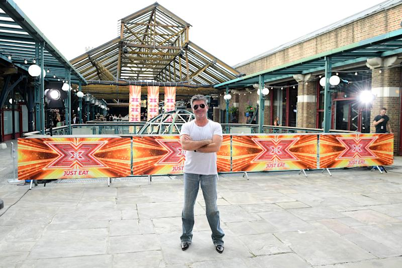 Simon Cowell attending X Factor filming at Tobacco Dock, Wapping Lane, London. (Photo by Ian West/PA Images via Getty Images)