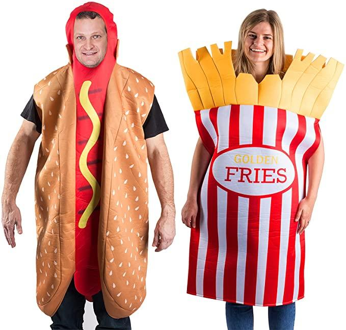 Man and woman dressed as 3D Hotdog and French Fries Couple Costume.