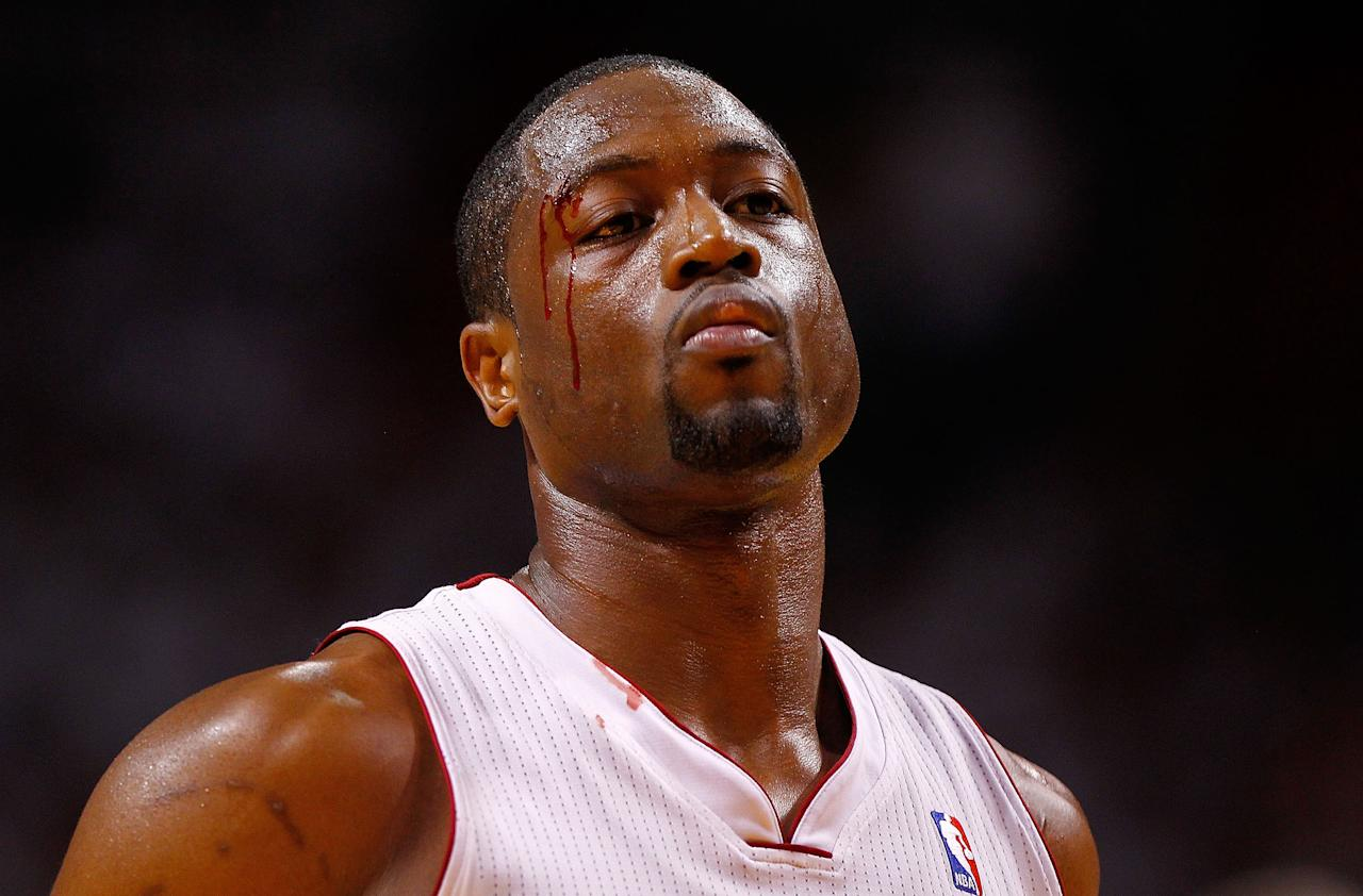 MIAMI, FL - MAY 22:  Dwyane Wade #3 of the Miami Heat shoots a technical foul after being hit in the eye during Game Five of the Eastern Conference Semifinals in the 2012 NBA Playoffs against the Indiana Pacers at AmericanAirlines Arena on May 22, 2012 in Miami, Florida. NOTE TO USER: User expressly acknowledges and agrees that, by downloading and/or using this Photograph, User is consenting to the terms and conditions of the Getty Images License Agreement.  (Photo by Mike Ehrmann/Getty Images)