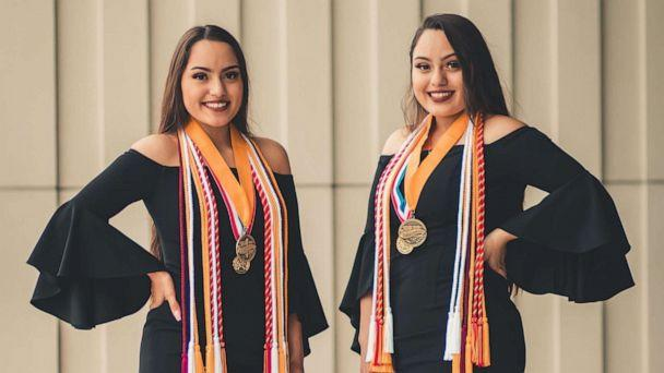 PHOTO: A set of twins, Judith and Janette Briseño, 17, have been named valedictorian and salutatorian of Mesquite High School's graduating class of 2020 in Texas. (Josue Briseño)