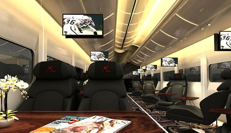"This undated artistic rendering provided by Las Vegas Railway Express shows the interior of the X Train, a proposed luxury Òparty train that would run from Fullerton, Calif., to downtown Las Vegas. For $99 each way, passengers would get food, drinks, access to two on-board ""ultra lounges"" and other amenities. The company signed an agreement last week with Union Pacific Railroad allowing them to use a set of tracks that leads to downtown Las Vegas but hasn't seen passenger traffic in 15 years. (AP Photo/Las Vegas Railway Express)"