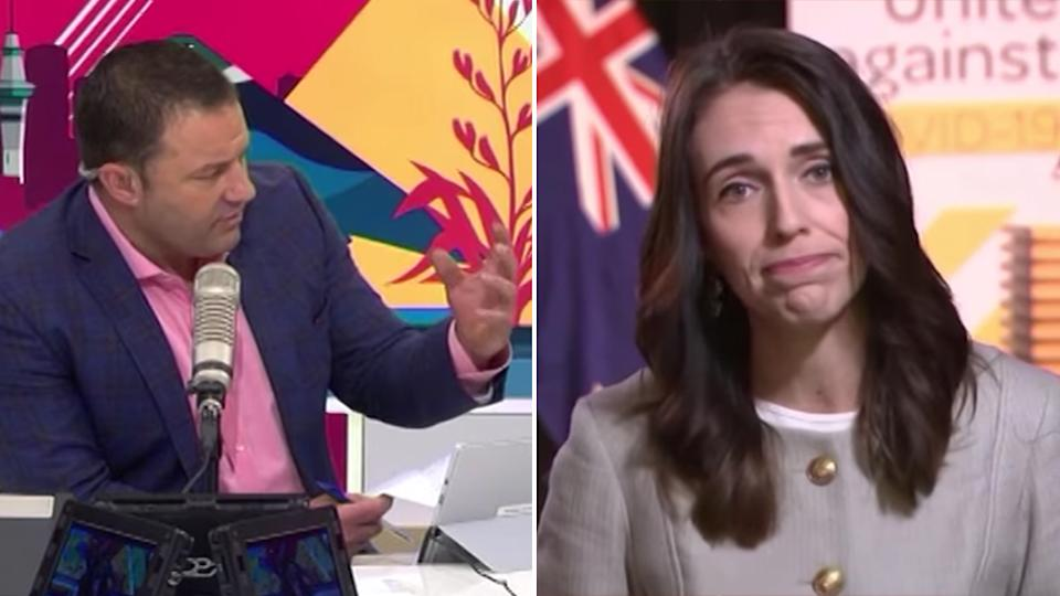 Jacinda Ardern and Duncan Garner are seen during the heated interview. Source: TheAMShow/facebook