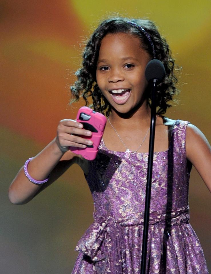 "SANTA MONICA, CA - JANUARY 10:  Actress Quvenzhane Wallis accepts the Best Actress Award for ""Beasts of the Southern Wild"" onstage at the 18th Annual Critics' Choice Movie Awards held at Barker Hangar on January 10, 2013 in Santa Monica, California.  (Photo by Kevin Winter/Getty Images)"