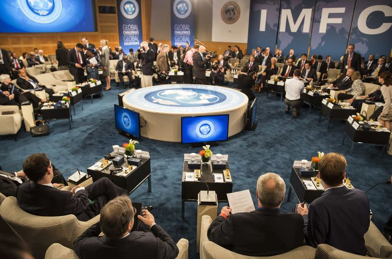 A general view shows the IMFC before their meeting at the World Bank/IMF annual meetings in Washington
