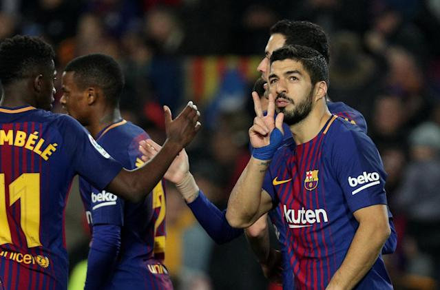 Soccer Football - La Liga Santander - FC Barcelona vs Girona - Camp Nou, Barcelona, Spain - February 24, 2018 Barcelona's Luis Suarez celebrates scoring their fourth goal with team mates REUTERS/Sergio Perez