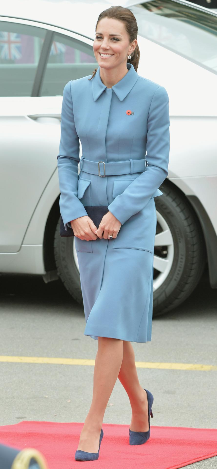 <p>Kate visited a war memorial in New Zealand wearing a blue customised coat dress by Alexander McQueen. A suede Stuart Weitzman bag and navy shoes completed the sleek look. </p><p><i>[Photo: PA]</i></p>