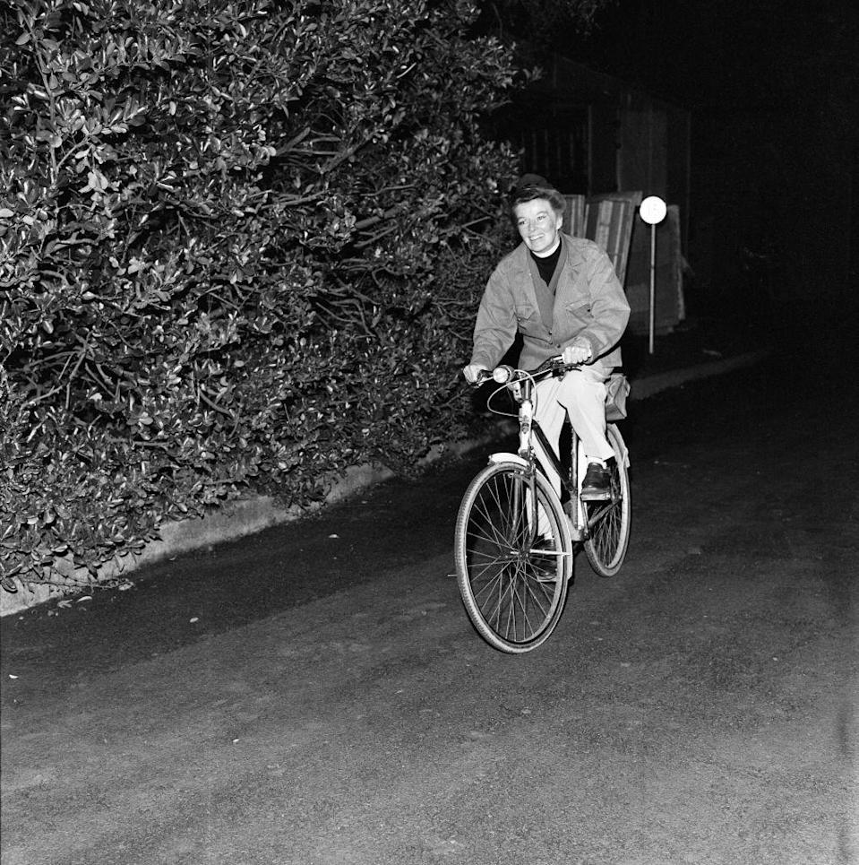 <p>The actress hits the road for a brief bike ride outside her home in Ireland, where she was filming <em>The Lion in Winter</em>, December 14, 1967.</p>