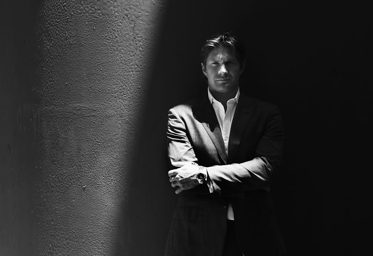 SYDNEY, AUSTRALIA - DECEMBER 20:  (EDITORS NOTE: Image has been converted to black and white.) Australian cricketer Shane Watson poses during a portrait session at the Sydney Cricket Ground on December 20, 2012 in Sydney, Australia.  (Photo by Ryan Pierse/Getty Images)