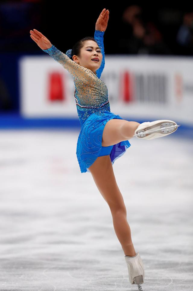Figure Skating - World Figure Skating Championships - The Mediolanum Forum, Milan, Italy - March 23, 2018 Japan's Satoko Miyahara during the Ladies Free Skating REUTERS/Alessandro Garofalo