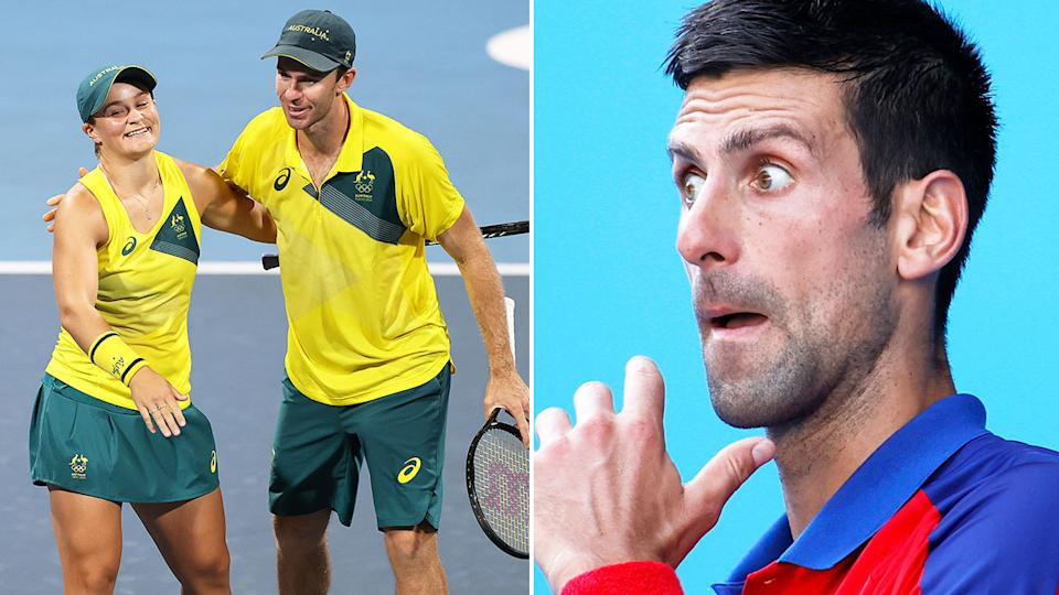 Pictured here, Aussies Ash Barty and John Peers celebrate and Novak Djokovic looks stunned on the right.