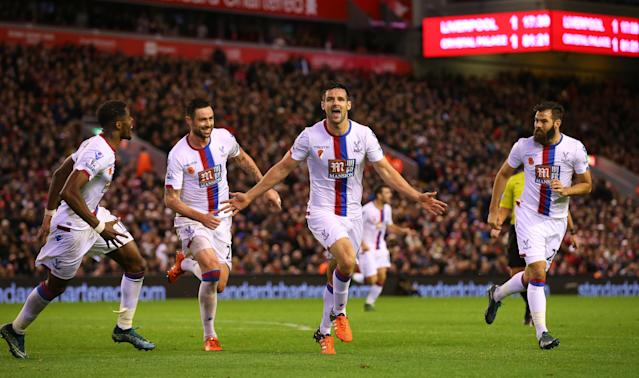 Scott Dann secures the win for Crystal Palace against Liverpool