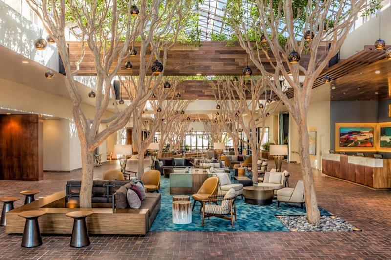 The Club Room at Portola Hotel & Spa boasts one of the best brunches in Monterey Bay. The new lobby's design aesthetic serves indoor forest atrium vibes and we can't get enough. Photo: Instagram