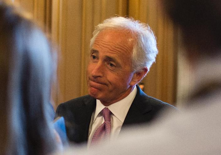 Senator Bob Corker speaks to the press in the Senate at the US Capitol in Washington, DC, on May 31, 2015 (AFP Photo/Andrew Caballero-Reynolds)