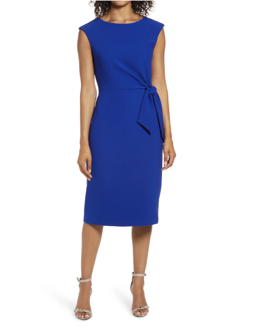 Tahari Cap Sleeve Crepe Sheath Dress