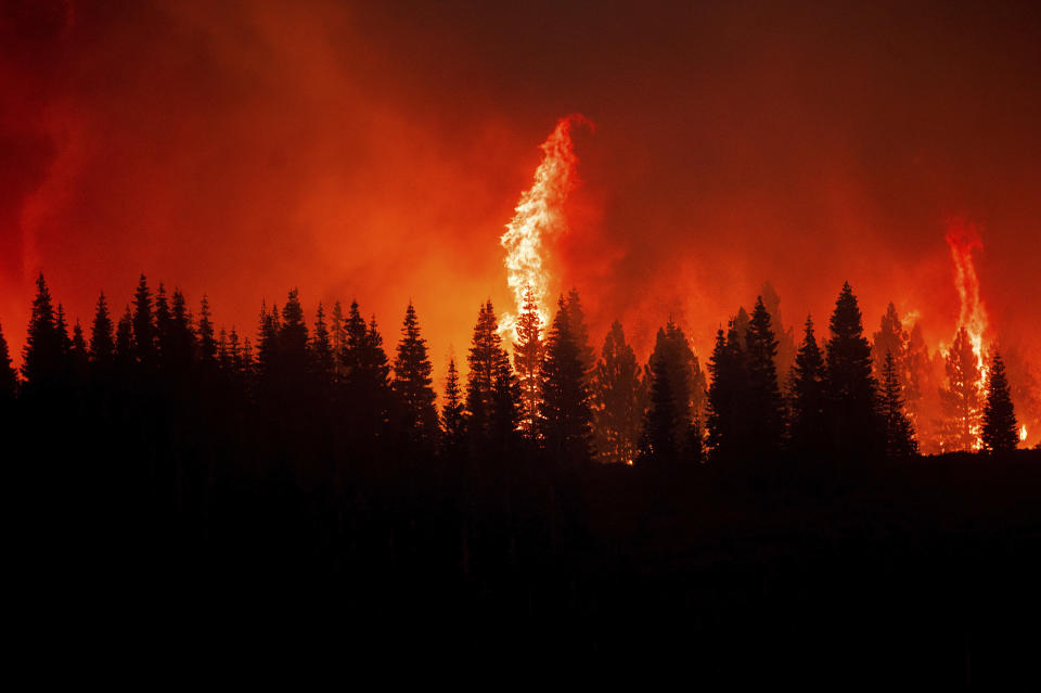 Flames from the Dixie Fire crest a hill in Lassen National Forest, Calif., near Jonesville on Monday, July 26, 2021. (AP Photo/Noah Berger)