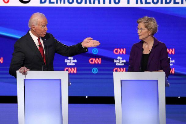 PHOTO: Former Vice President Joe Biden challenges Sen. Elizabeth Warren (D-MA) during the Democratic Presidential Debate at Otterbein University on October 15, 2019 in Westerville, Ohio. (Win Mcnamee/Getty Images)
