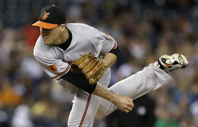 Baltimore Orioles pitcher Jim Johnson throws against the Detroit Tigers in the ninth inning of a baseball game in Detroit, Tuesday, June 18, 2013. Baltimore won 5-2. (AP Photo/Paul Sancya)