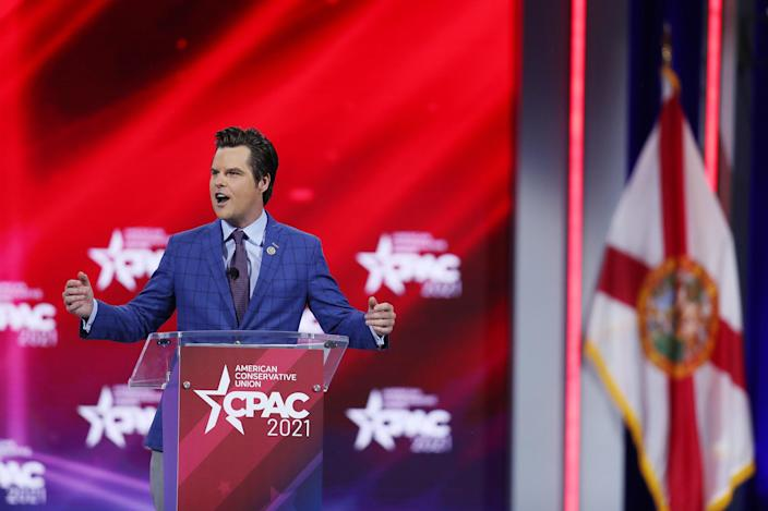 <p>File Image: Representative Matt Gaetz addresses the Conservative Political Action Conference being held in the Hyatt Regency on 26 February 2021 in Orlando, Florida</p> (Getty Images)