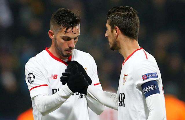 Soccer Football - Champions League - NK Maribor vs Sevilla - Ljudski vrt, Maribor, Slovenia - December 6, 2017 Sevilla's Pablo Sarabia and Sevilla's Sergio Escudero after the match REUTERS/Srdjan Zivulovic