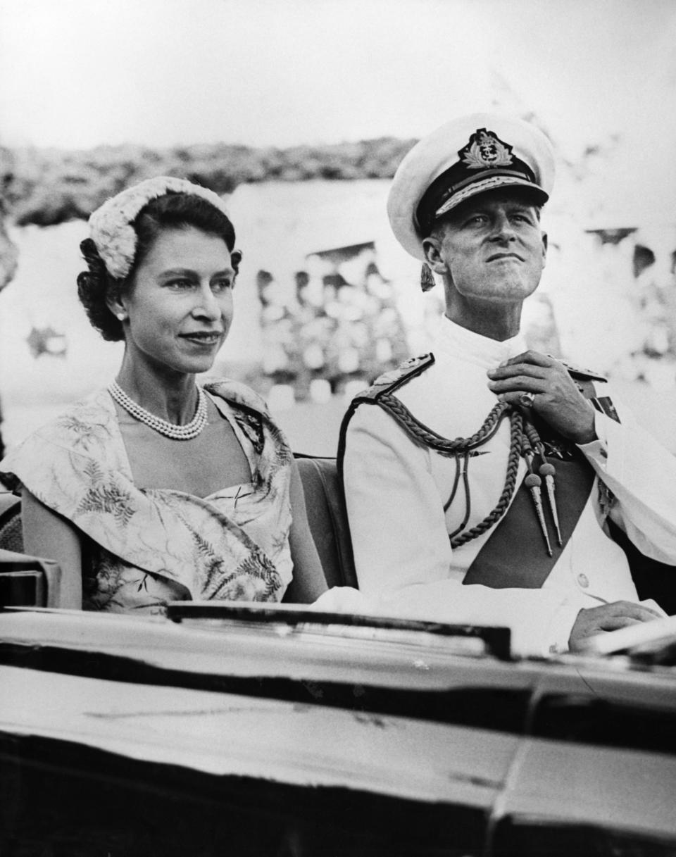 The Queen and the Duke of Edinburgh set off for Brisbane during their 1954 visit to Australia. (Photo by © Hulton-Deutsch Collection/CORBIS/Corbis via Getty Images)