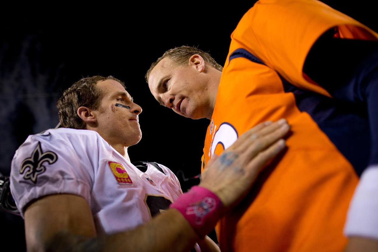 Drew Brees is 201 yards short of breaking Peyton Manning's record as the all-time NFL leader in passing yards. (Getty Images)