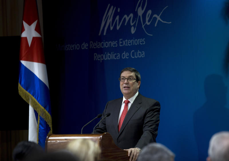 Cuba's Foreign Minister Bruno Rodríguez speaks during a press conference, in Havana, Cuba, Friday, Sept. 20, 2019. Rodríguez says the U.S. expulsion of two Cuban diplomats and energy shortages across the island are part of a Trump administration offensive that will fail to force concessions by his government. (AP Photo/Ismael Francisco)