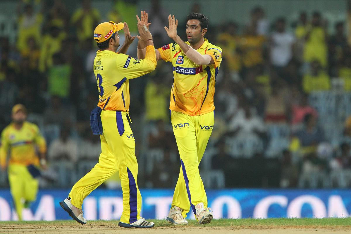 Ravichandran Ashwin and Suresh Raina celebrate the wicket of Unmukt Chand during match 64 of the Pepsi Indian Premier League between The Chennai Superkings and the Delhi Daredevils held at the MA Chidambaram Stadium in Chennai on the 14th May 2013..Photo by Ron Gaunt-IPL-SPORTZPICS   .. .Use of this image is subject to the terms and conditions as outlined by the BCCI. These terms can be found by following this link:..https://ec.yimg.com/ec?url=http%3a%2f%2fwww.sportzpics.co.za%2fimage%2fI0000SoRagM2cIEc&t=1506204617&sig=vkwhvVpoChOa.0beEkMH0A--~D