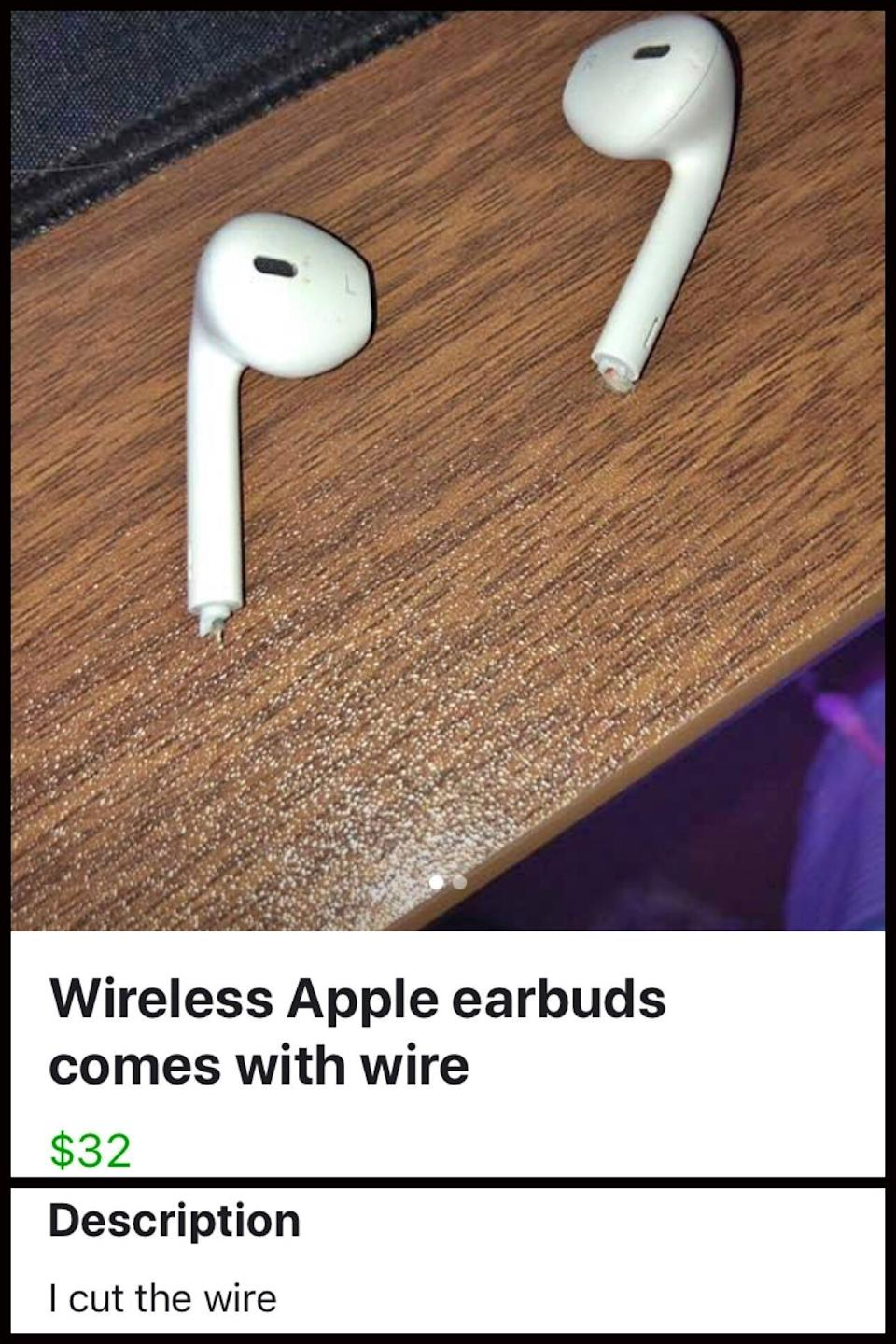 someone selling wireless apple earbuds with the wire cut off