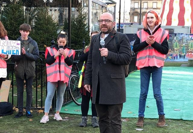 Scottish Greens co-leader Patrick Harvie speaking at a climate strike in Glasgow's George Square