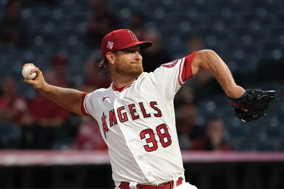 Los Angeles Angels starting pitcher Alex Cobb throws to the plate during the first inning of a baseball game against the Houston Astros Thursday, Sept. 23, 2021 in Anaheim, Calif. (AP Photo/Mark J. Terrill)