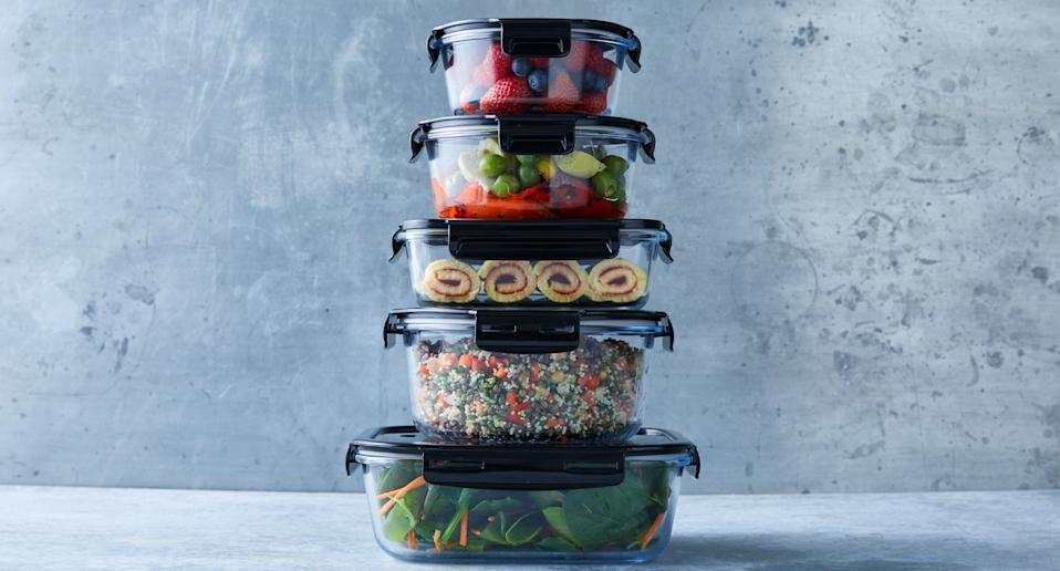 Photo shows Woolworths' glass containers with plastic lids.