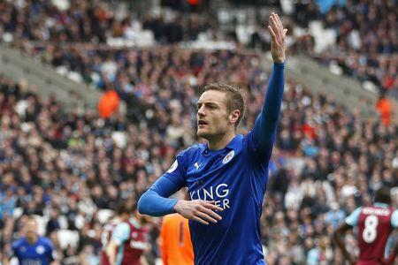 Leicester City's Jamie Vardy celebrates scoring their third goal