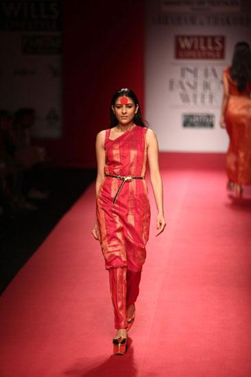 Abraham & Thakore turned their sari into a structured dress