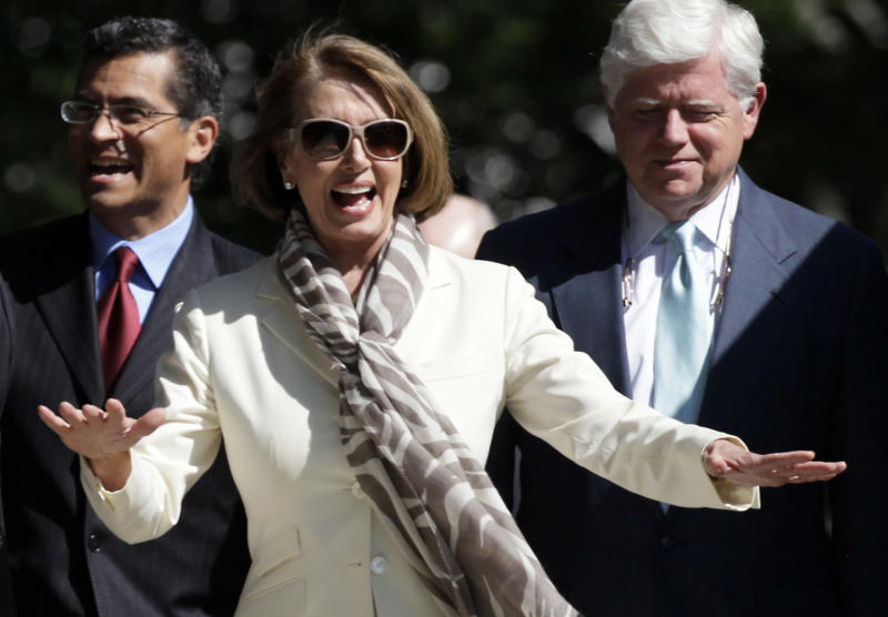 From Left, Rep. Xavier Becerra, D-Calif., House Minority Leader Nancy Pelosi of Calif., and Rep. John Larson, D-Conn.,  walk from the White House after a meeting with President Barack Obama regarding the debt ceiling, Thursday, June 2, 2011, in Washington. (AP Photo/Carolyn Kaster)