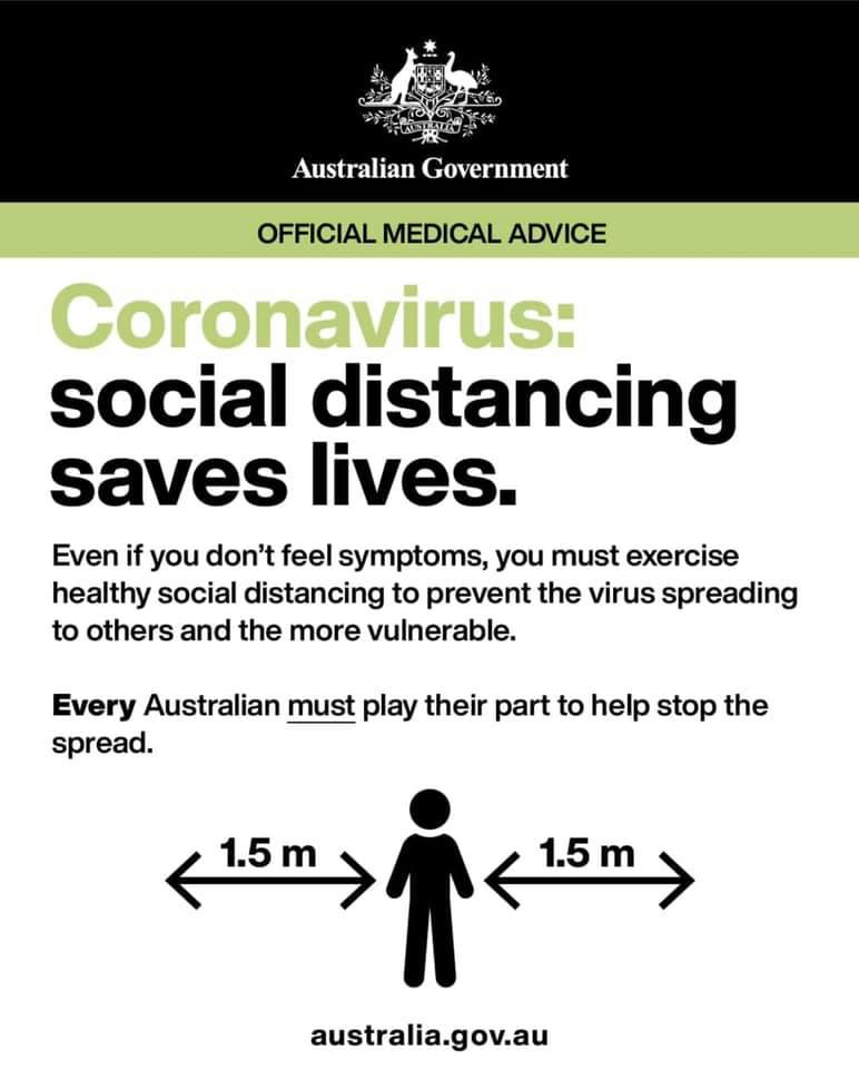 To practice social distancing, stay 1.5 metres away from people, even if you don't feel unwell. Source: The Australian Government.