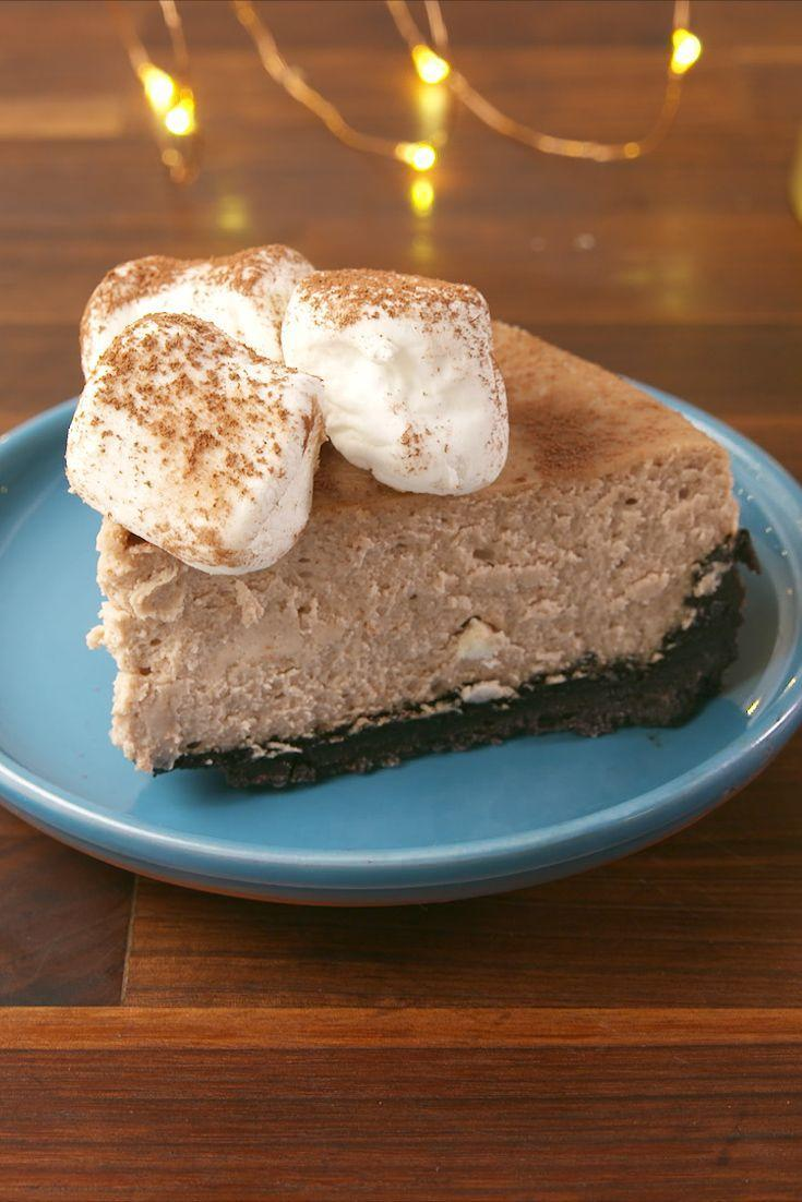 """<p>Cuddle up with a big slice of this Hot Cocoa Cheesecake.</p><p>Get the recipe from <a href=""""https://www.delish.com/cooking/recipe-ideas/recipes/a57153/hot-cocoa-cheesecake-recipe/"""" rel=""""nofollow noopener"""" target=""""_blank"""" data-ylk=""""slk:Delish"""" class=""""link rapid-noclick-resp"""">Delish</a>. </p>"""