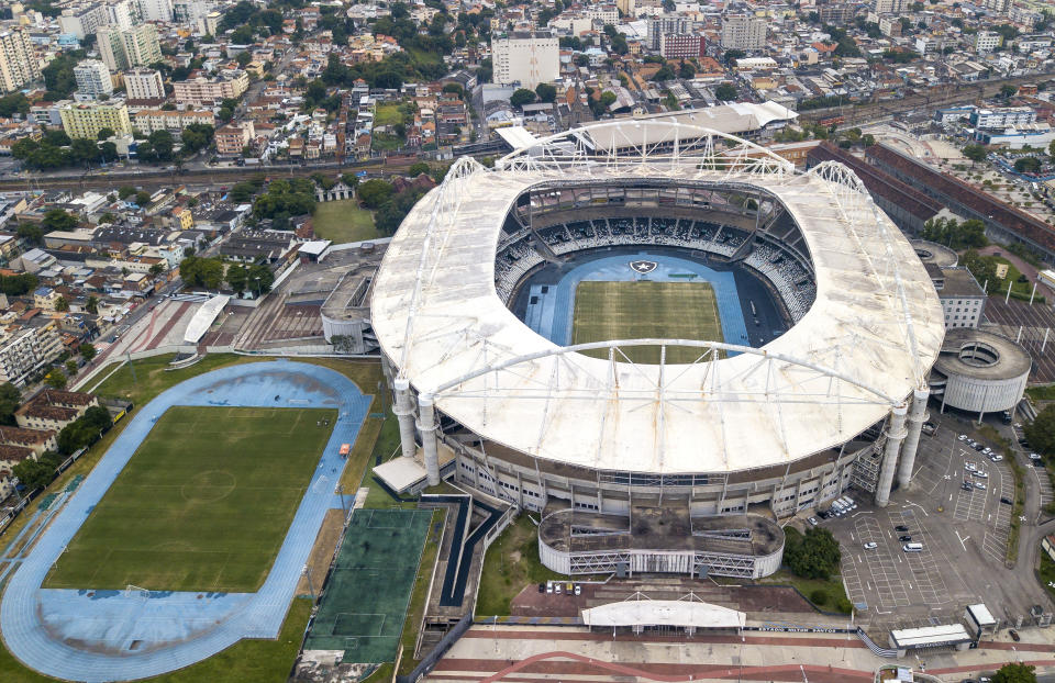 RIO DE JANEIRO, BRAZIL - JUNE 08: Aerial view of Nilton Santos stadium ahead of Copa America Brazil 2021 on June 08, 2021 in Rio de Janeiro, Brazil. After a controversial decision, CONMEBOL determined Brazil will host the next Copa America from June 13 to July 11. The tournament, initially planned to be co-hosted by Colombia and Argentina, will be organized by Brazil, a country hit hard by coronavirus and a political crisis. Host Cities will be Rio de Janeiro, Cuiaba, Goiania and Brasilia. (Photo by Buda Mendes/Getty Images)