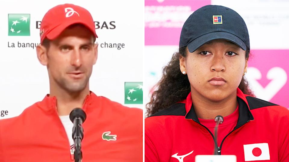 Novak Djokovic (pictured left) during his French Open press conference and Naomi Osaka (pictured right) during a press conference.