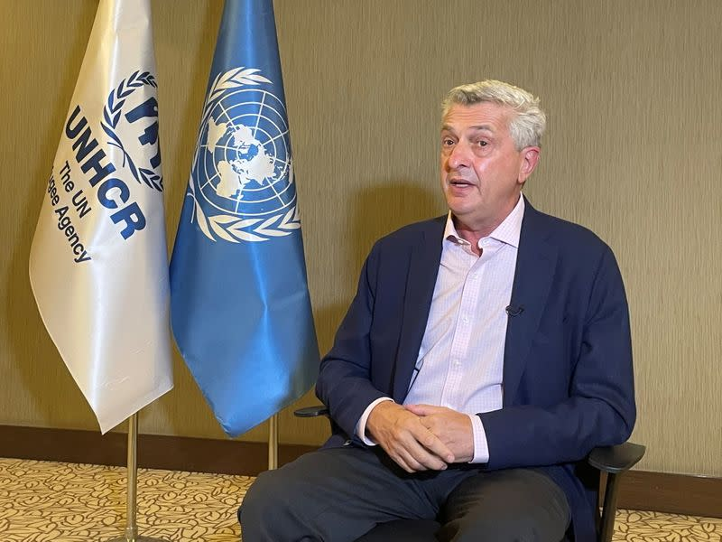 UNHCR chief Grandi talks during an interview with Reuters in Gaziantep