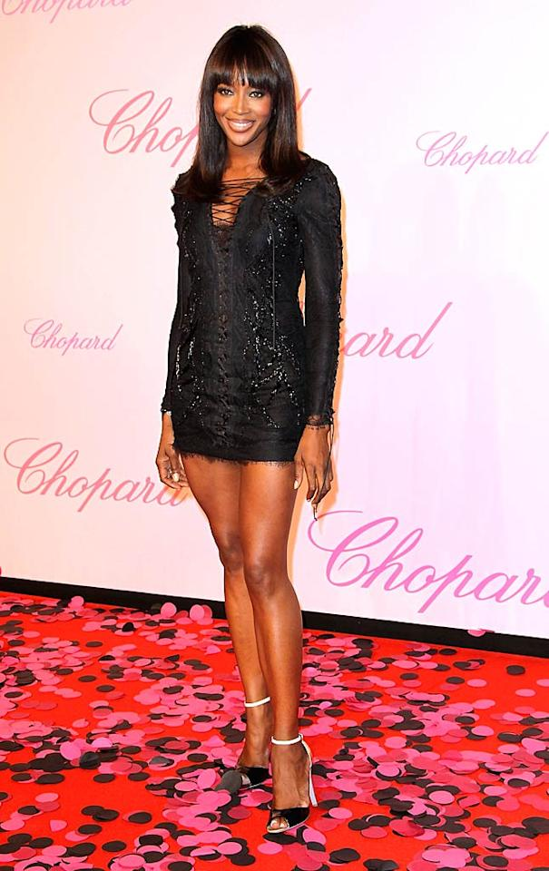 """Supermodel Naomi Campbell showed off her super gams at this year's Chopard """"Happy Diamonds Are A Girl's Best Friend"""" fete in a super sexy Emilio Pucci mini and sky-high Sergio Rossi """"Asteria"""" sandals. Tony Barson/<a href=""""http://www.wireimage.com"""" target=""""new"""">WireImage.com</a> - May 16, 2011"""