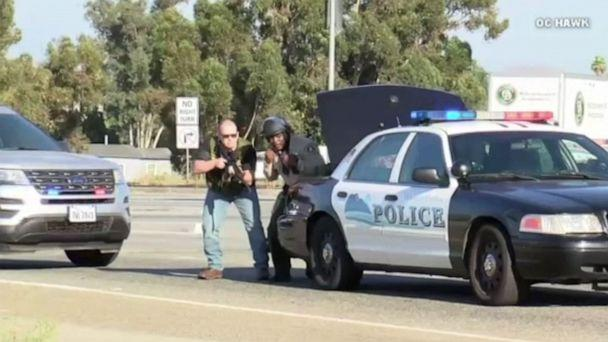 PHOTO: CHP officer and suspect killed, 2 officers wounded in gun battle on the highway in Riverside, Calif. (OC Hawk )