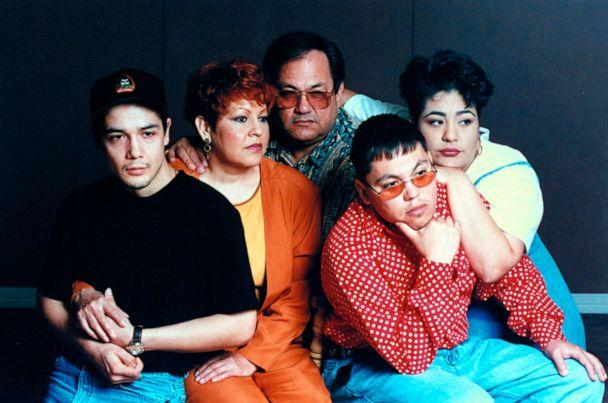 PHOTO: The family of late tejano singer Selena,husband Chris Perez, parents Marcela and Abraham Quintanilla, and siblings A.B. and Suzette, pose together for a portrait, Jan. 1, 1995. (Barbara Laing/The Life Images Collection via Getty Images, FILE)